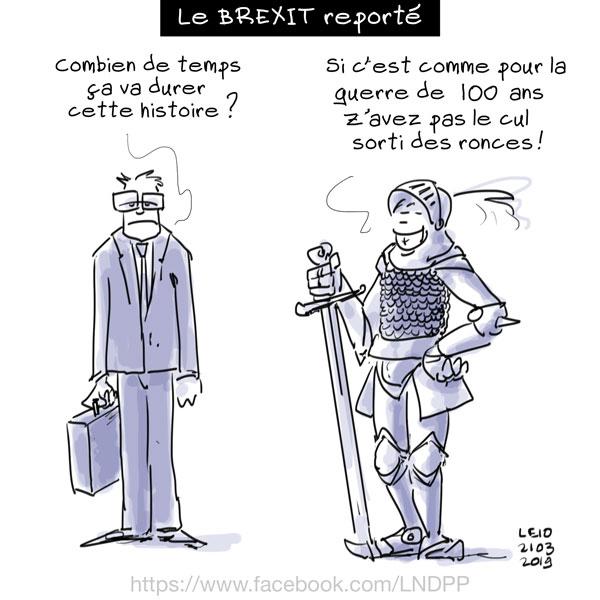Dessin de presse : Le Brexit reporté Vs. La guerre de 100 ans